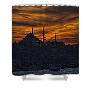 Istanbul Sunset - A Call to Prayer Shower Curtain by David Smith