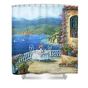 Italian Lunch On The Terrace Shower Curtain by Marilyn Dunlap