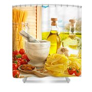 Italian Pasta In Country Kitchen Shower Curtain by Amanda And Christopher Elwell