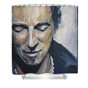 It's Boss Time II - Bruce Springsteen Portrait Shower Curtain by Khairzul MG