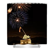 Iwo Jima Flag Raising Shower Curtain by Michael Peychich
