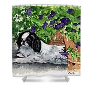 Japanese Chin Puppy And Petunias Shower Curtain by Kathleen Sepulveda