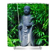 Japanese House Monk Statue Shower Curtain by Bill Cannon