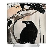 Japanese Print: Crow Shower Curtain by Granger