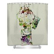 Japanese Woman In Kimono Shower Curtain by Naxart Studio