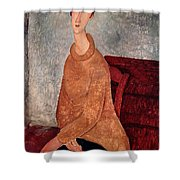 Jeanne Hebuterne In A Yellow Jumper Shower Curtain by Amedeo Modigliani