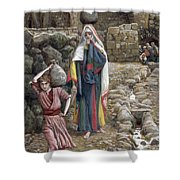 Jesus And His Mother At The Fountain Shower Curtain by Tissot