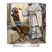 Jesus And The Blind Man Shower Curtain by Arthur A Dixon