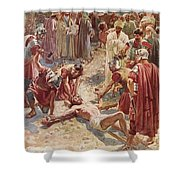 Jesus being crucified Shower Curtain by William Brassey Hole