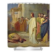 Jesus Healing The Leper Shower Curtain by Jean Marie Melchior Doze