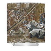 Jesus Meets His Mother Shower Curtain by Tissot
