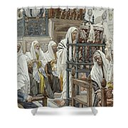 Jesus Unrolls The Book In The Synagogue Shower Curtain by Tissot