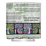 Jewish Seven Wedding Blessings Tree Of Life Hamsas Shower Curtain by Sandra Silberzweig