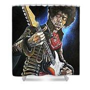 Jimi Hendrix Shower Curtain by Tom Carlton