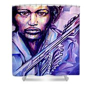 Jimi Shower Curtain by Lloyd DeBerry