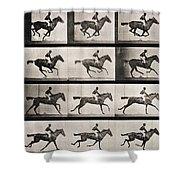 Jockey on a galloping horse Shower Curtain by Eadweard Muybridge
