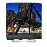 Joe Louis Fist Statue Jefferson And Woodward Ave. Detroit Michigan Shower Curtain by Gordon Dean II