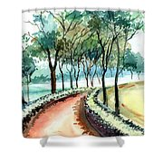 Jogging Track Shower Curtain by Anil Nene