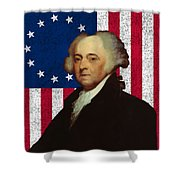 John Adams And The American Flag Shower Curtain by War Is Hell Store
