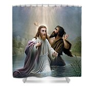 John The Baptist Baptizes Jesus Christ Shower Curtain by War Is Hell Store