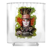 Johnny Depp As Mad Hatter Shower Curtain by Melanie D