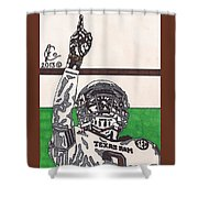 Johnny Manziel 7 Shower Curtain by Jeremiah Colley