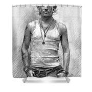 Johny Depp Shower Curtain by Ylli Haruni
