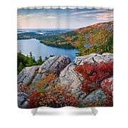 Jordan Pond Sunrise  Shower Curtain by Susan Cole Kelly