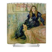 Julie Manet and her Greyhound Laerte Shower Curtain by Berthe Morisot