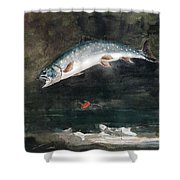 Jumping Trout Shower Curtain by Winslow Homer