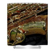 Jupiter Saxophone Shower Curtain by Michelle Calkins