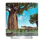 Kaprosuchus Crocodyliforms Shower Curtain by Walter Myers