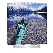 Kayak Ashore Shower Curtain by Bill Brennan - Printscapes