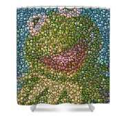 Kermit Mt. Dew Bottle Cap Mosaic Shower Curtain by Paul Van Scott