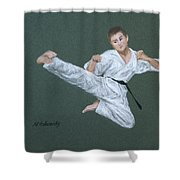 Kick Fighter Shower Curtain by Marna Edwards Flavell