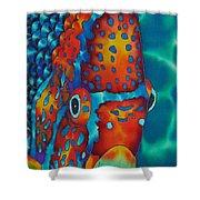 King Angelfish Shower Curtain by Daniel Jean-Baptiste