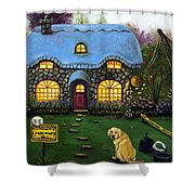 Kinkade's Worst Nightmare 2  Shower Curtain by Leah Saulnier The Painting Maniac