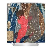 Kintoki Swims Up The Waterfall Shower Curtain by Kuniyoshi