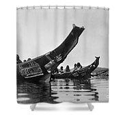 Kwakiutl Canoes, C1914 Shower Curtain by Granger