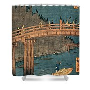 Kyoto Bridge By Moonlight Shower Curtain by Hiroshige
