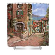 La Discesa Al Mare Shower Curtain by Guido Borelli