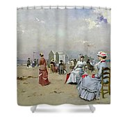 La Plage De Trouville Shower Curtain by Paul Rossert