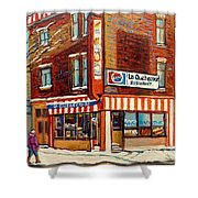 La Quebecoise Restaurant Deli Shower Curtain by Carole Spandau