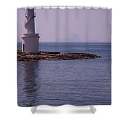 La Sabina Lighthouse Formentera And The Island Of Es Vedra Shower Curtain by John Edwards