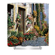 La Strada Del Lago Shower Curtain by Guido Borelli