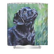 Labrador Retriever Pup And Dragonfly Shower Curtain by Lee Ann Shepard