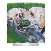 Labrador Retriever Yellow Buddies Shower Curtain by Lee Ann Shepard