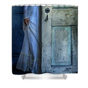 Lady In Vintage Clothing Hiding Behind Old Door Shower Curtain by Jill Battaglia