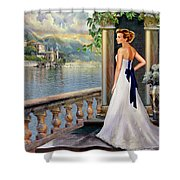 Lady On The Stairs By Lake Como. Shower Curtain by Gina Femrite
