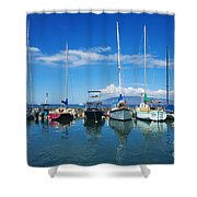 Lahaina In Blue Shower Curtain by Ron Dahlquist - Printscapes
